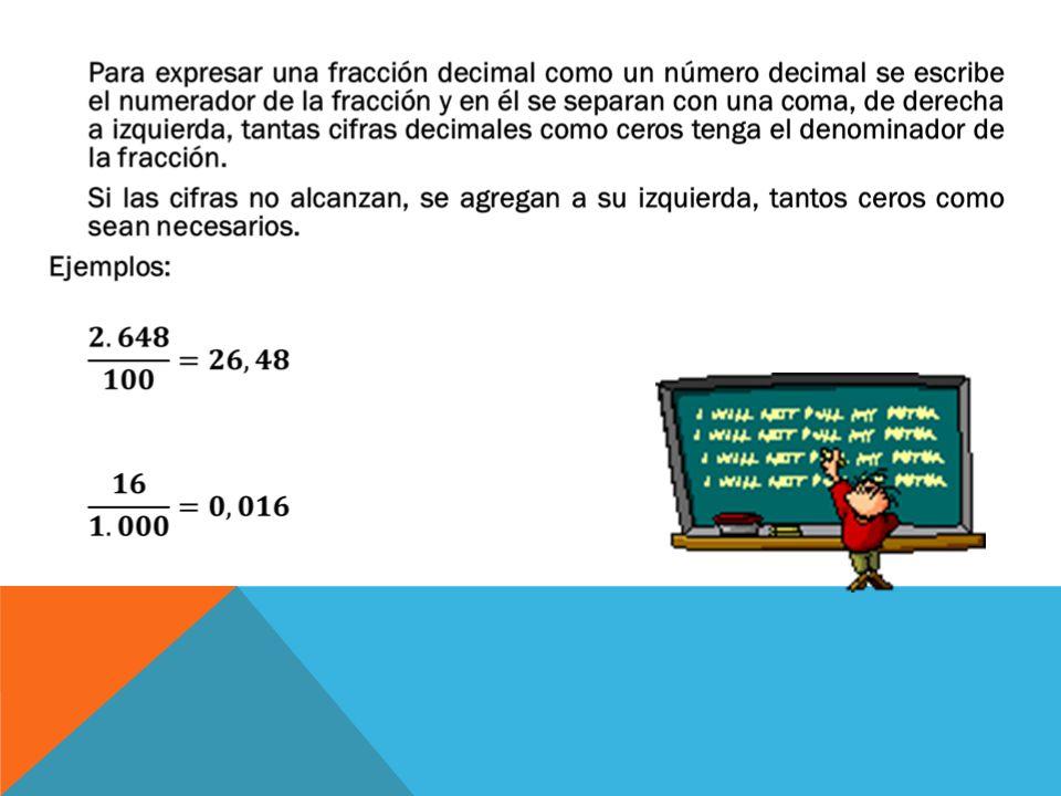 Cuando la parte entera del número decimal no es cero, se escribe el número como la suma de la parte entera más la parte decimal.