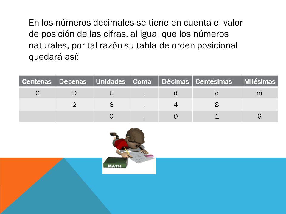 En los números decimales se tiene en cuenta el valor de posición de las cifras, al igual que los números naturales, por tal razón su tabla de orden po