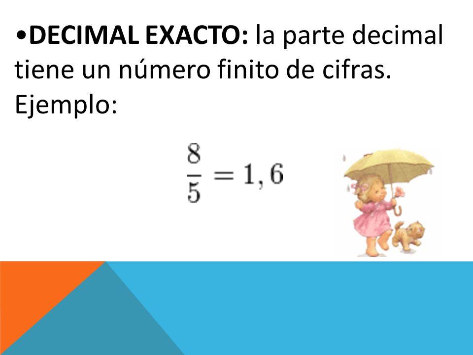 DECIMAL PERIÓDICO Todo número racional que no es equivalente a una fracción decimal se puede expresar como un número decimal al dividir el numerador entre el denominador