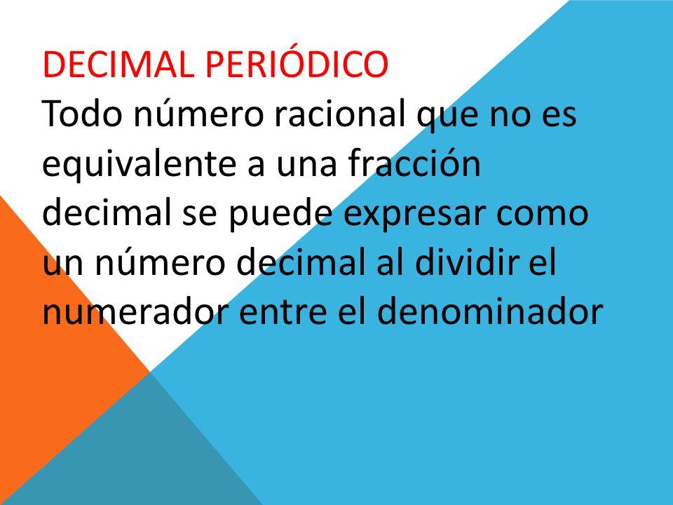 DECIMAL PERIÓDICO Todo número racional que no es equivalente a una fracción decimal se puede expresar como un número decimal al dividir el numerador e