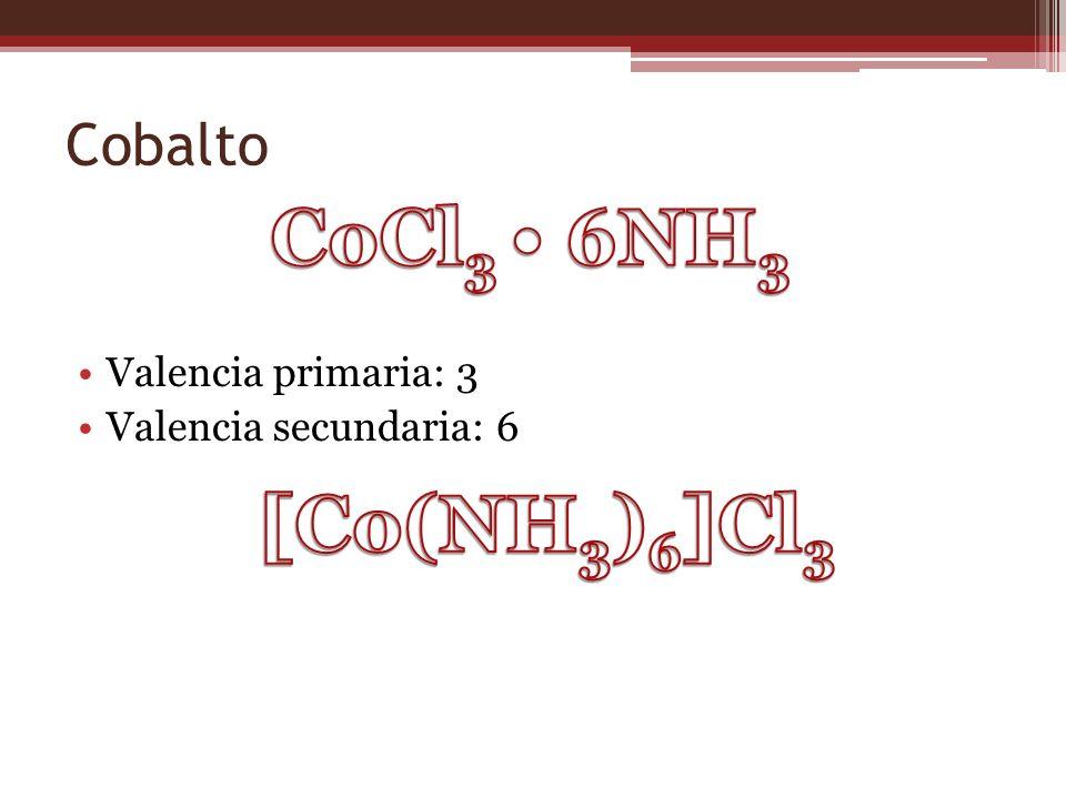 Cobalto Valencia primaria: 3 Valencia secundaria: 6