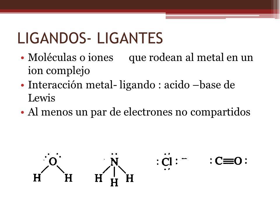 LIGANDOS- LIGANTES Moléculas o iones que rodean al metal en un ion complejo Interacción metal- ligando : acido –base de Lewis Al menos un par de elect