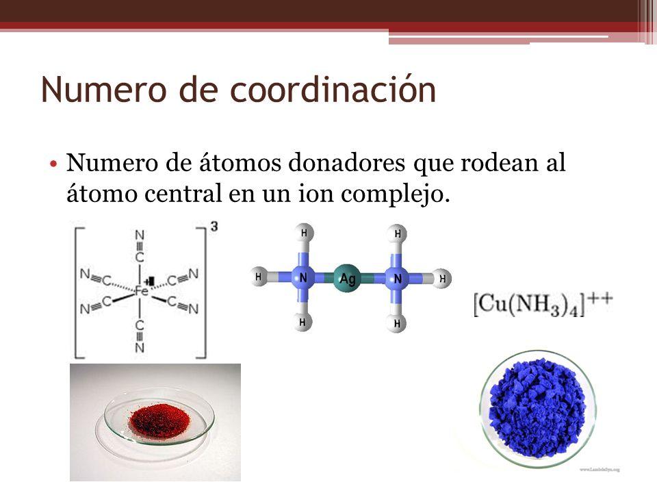 Numero de coordinación Numero de átomos donadores que rodean al átomo central en un ion complejo.