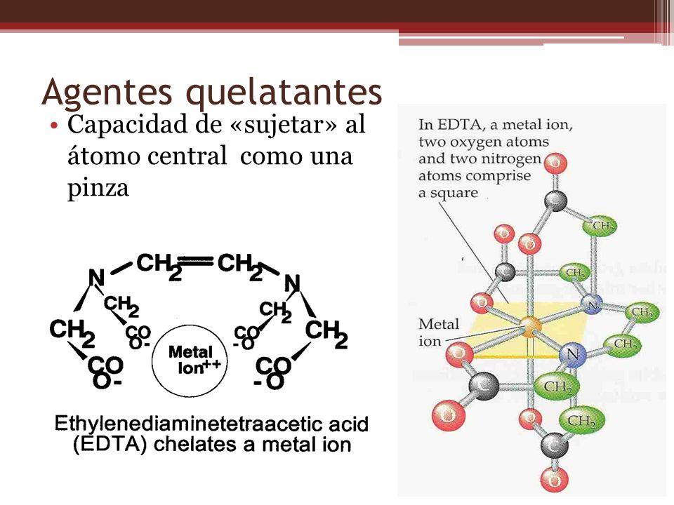 Agentes quelatantes Capacidad de «sujetar» al átomo central como una pinza