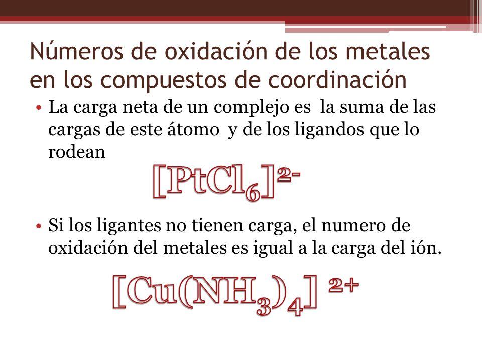 Números de oxidación de los metales en los compuestos de coordinación La carga neta de un complejo es la suma de las cargas de este átomo y de los lig