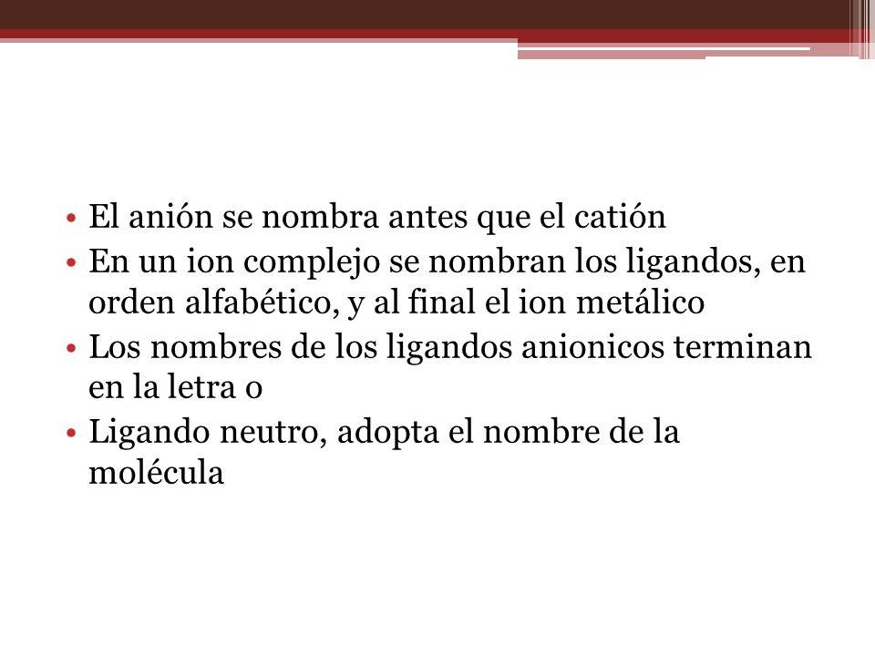 El anión se nombra antes que el catión En un ion complejo se nombran los ligandos, en orden alfabético, y al final el ion metálico Los nombres de los