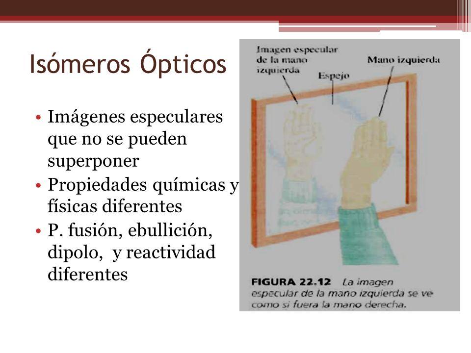 Isómeros Ópticos Imágenes especulares que no se pueden superponer Propiedades químicas y físicas diferentes P. fusión, ebullición, dipolo, y reactivid