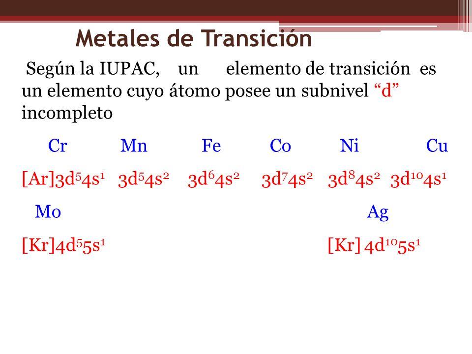 Metales de Transición Según la IUPAC, un elemento de transición es un elemento cuyo átomo posee un subnivel d incompleto Cr Mn Fe Co Ni Cu [Ar]3d 5 4s