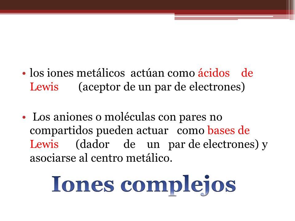 los iones metálicos actúan como ácidos de Lewis (aceptor de un par de electrones) Los aniones o moléculas con pares no compartidos pueden actuar como