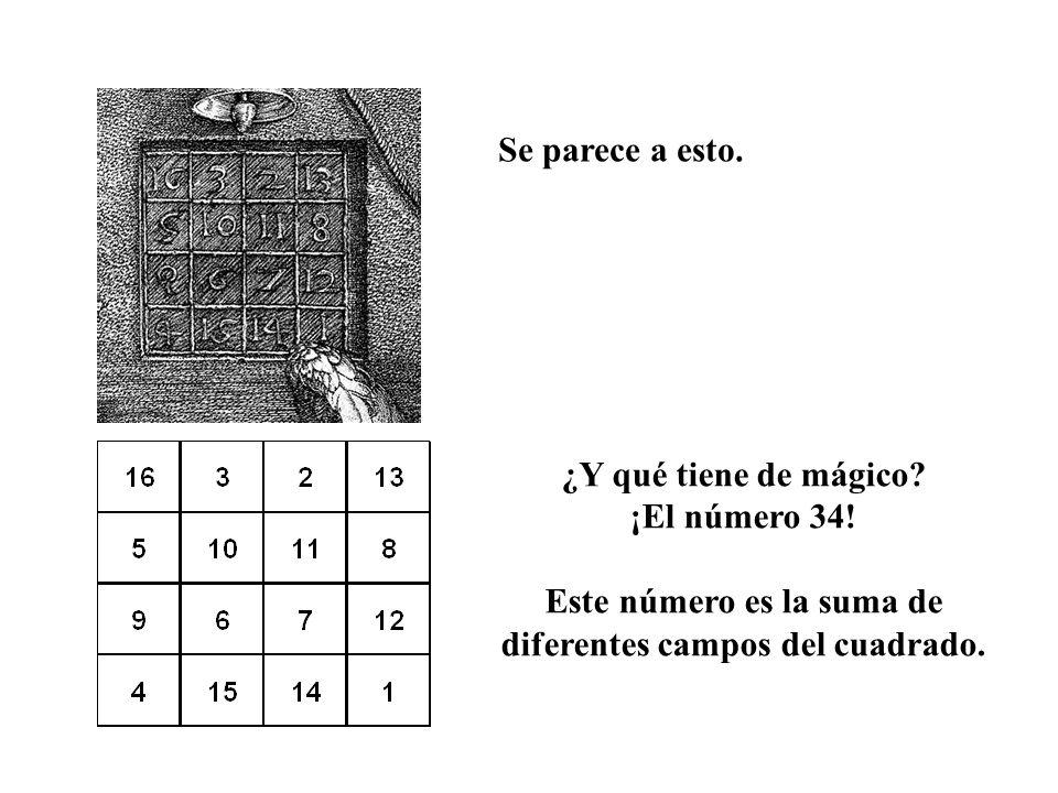 Se parece a esto. ¿Y qué tiene de mágico? ¡El número 34! Este número es la suma de diferentes campos del cuadrado.