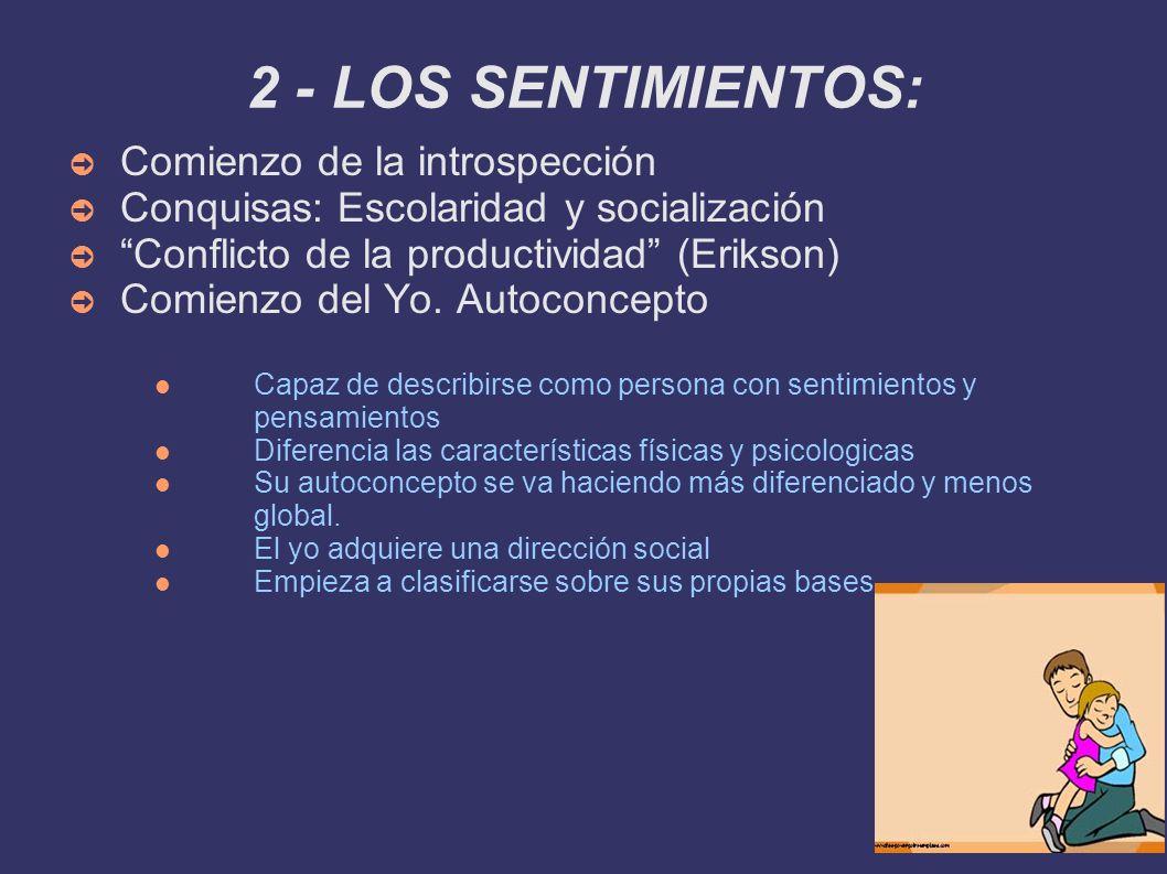 2 - LOS SENTIMIENTOS: Comienzo de la introspección Conquisas: Escolaridad y socialización Conflicto de la productividad (Erikson) Comienzo del Yo. Aut