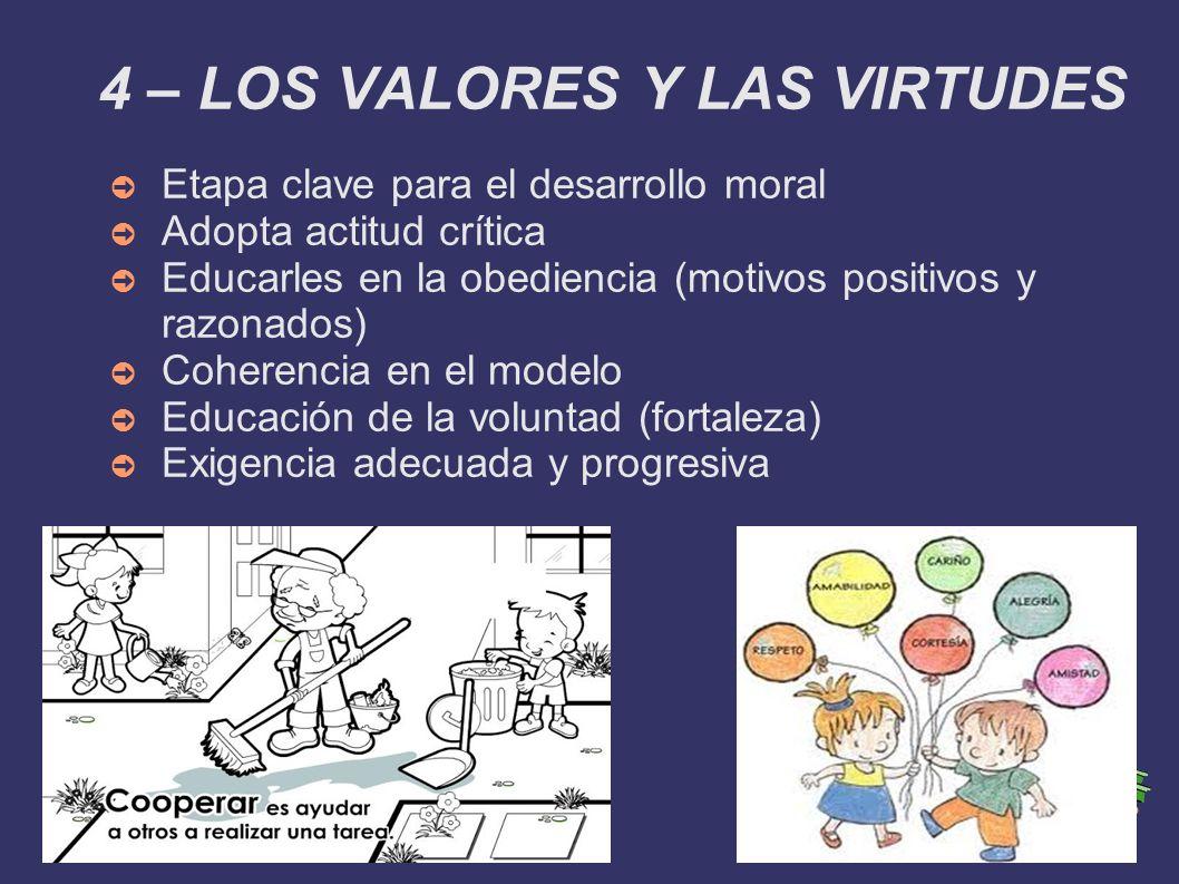 4 – LOS VALORES Y LAS VIRTUDES Etapa clave para el desarrollo moral Adopta actitud crítica Educarles en la obediencia (motivos positivos y razonados)