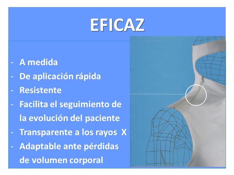 EFICAZ -A medida -De aplicación rápida -Resistente -Facilita el seguimiento de la evolución del paciente -Transparente a los rayos X -Adaptable ante pérdidas de volumen corporal