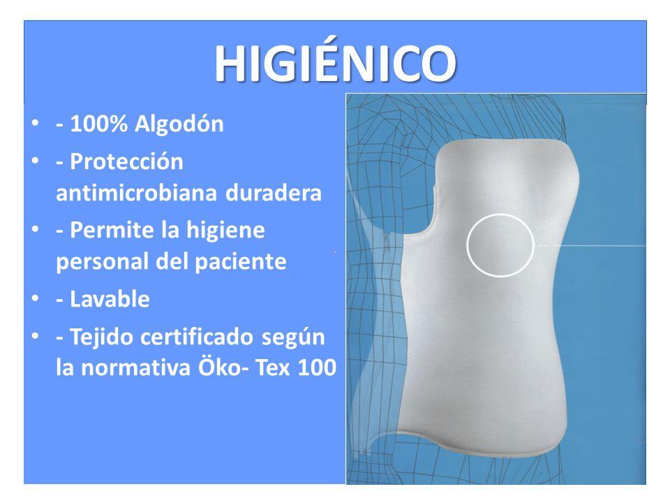 HIGIÉNICO - 100% Algodón - Protección antimicrobiana duradera - Permite la higiene personal del paciente - Lavable - Tejido certificado según la normativa Öko- Tex 100