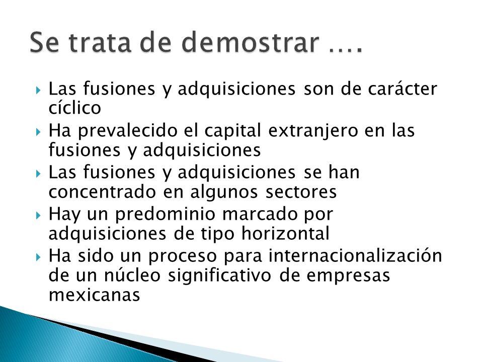 Las fusiones y adquisiciones son de carácter cíclico Ha prevalecido el capital extranjero en las fusiones y adquisiciones Las fusiones y adquisiciones se han concentrado en algunos sectores Hay un predominio marcado por adquisiciones de tipo horizontal Ha sido un proceso para internacionalización de un núcleo significativo de empresas mexicanas