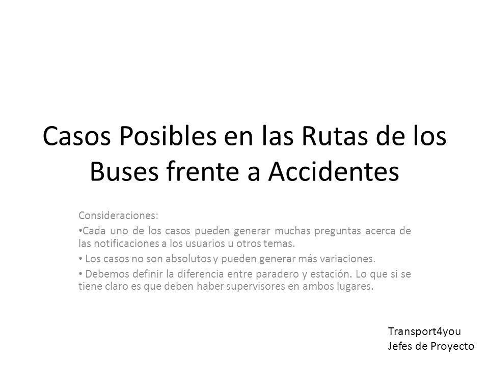 Casos Posibles en las Rutas de los Buses frente a Accidentes Consideraciones: Cada uno de los casos pueden generar muchas preguntas acerca de las notificaciones a los usuarios u otros temas.
