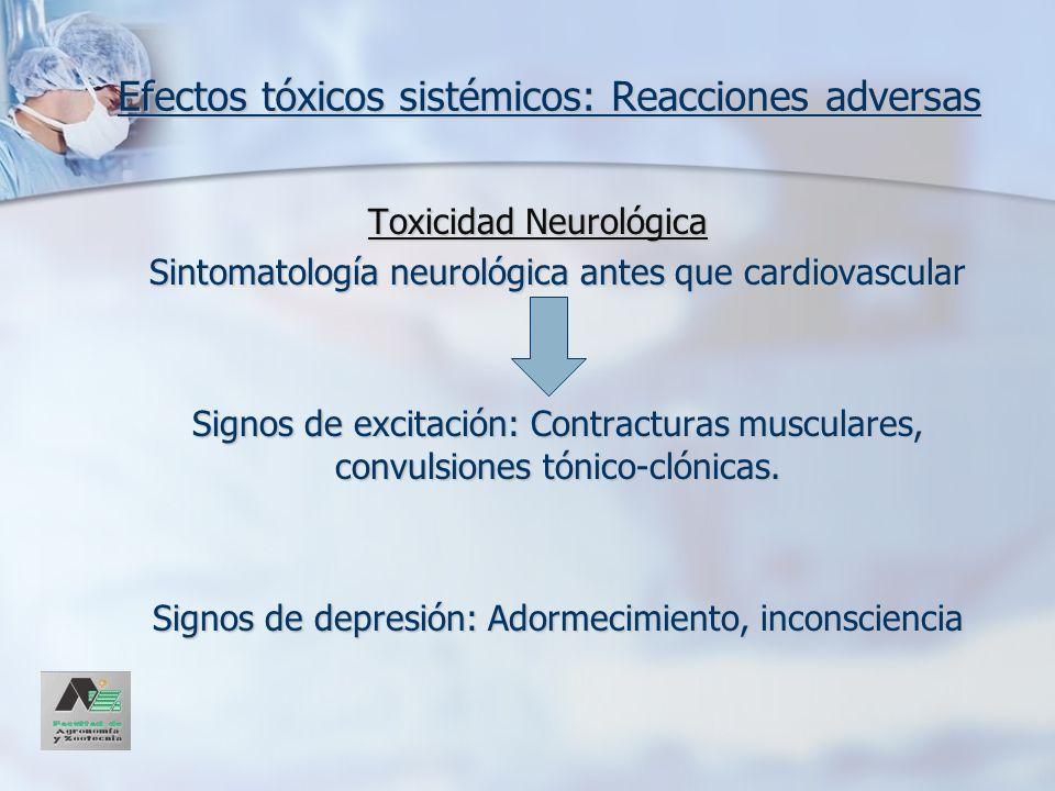 Efectos tóxicos sistémicos: Reacciones adversas Toxicidad Neurológica Sintomatología neurológica antes que cardiovascular Signos de excitación: Contra