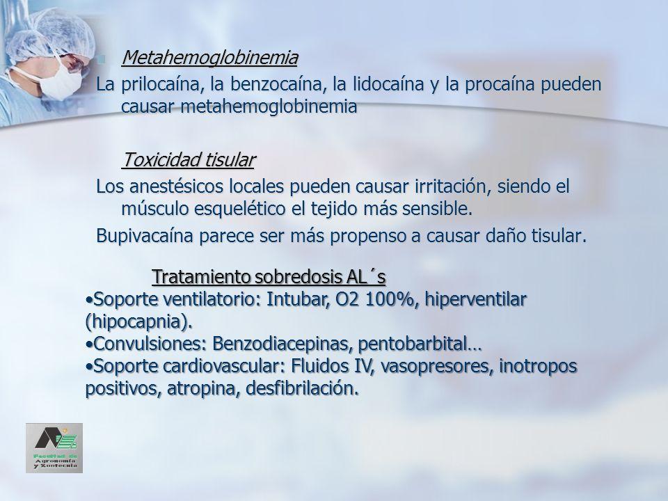 Metahemoglobinemia Metahemoglobinemia La prilocaína, la benzocaína, la lidocaína y la procaína pueden causar metahemoglobinemia Toxicidad tisular Los
