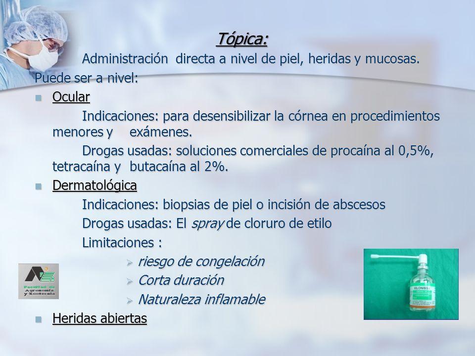 Anestesia Infiltrativa Consiste en depositar un agente anestésico en el tejido subcutáneo y planos subyacentes.