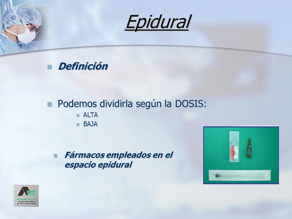 Epidural Fármacos empleados en el espacio epidural Fármacos empleados en el espacio epidural Definición Definición Podemos dividirla según la DOSIS: P