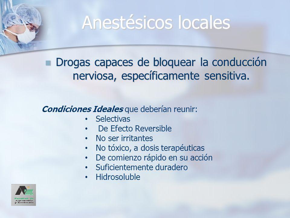 Anestésicos locales Drogas capaces de bloquear la conducción nerviosa, específicamente sensitiva. Drogas capaces de bloquear la conducción nerviosa, e
