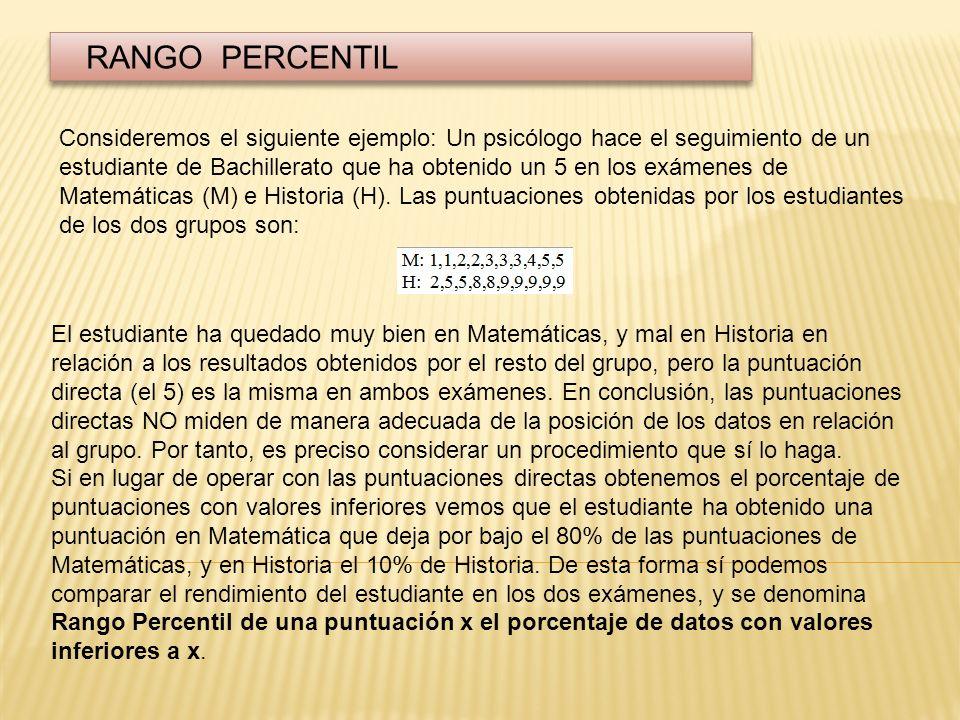 FORMULA PARA EL CALCULO f a : Frecuencia acumulada hasta el límite inferior del intervalo donde se encuentra la puntuación x.