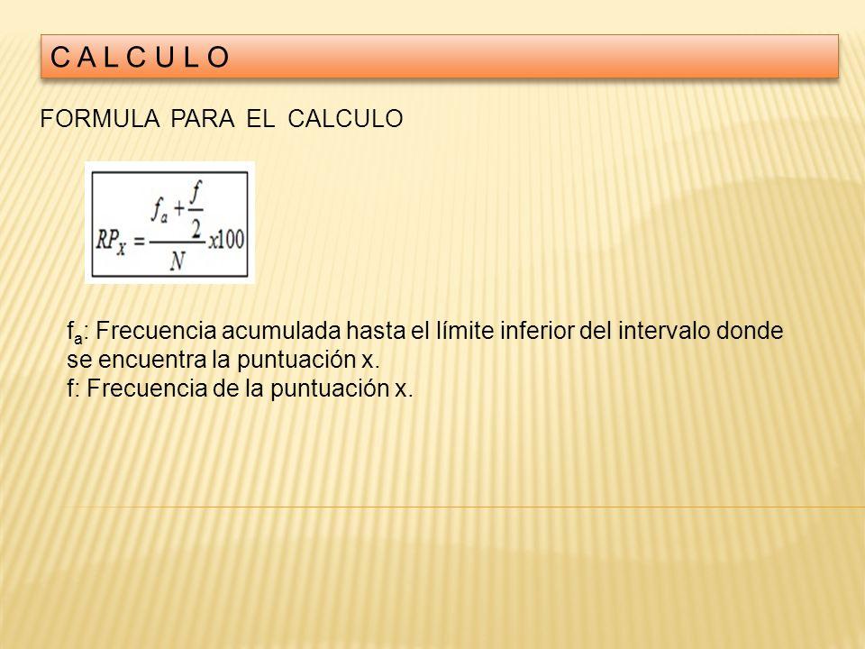 FORMULA PARA EL CALCULO f a : Frecuencia acumulada hasta el límite inferior del intervalo donde se encuentra la puntuación x. f: Frecuencia de la punt