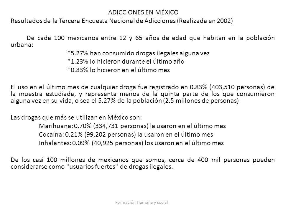ADICCIONES EN MÉXICO Resultados de la Tercera Encuesta Nacional de Adicciones (Realizada en 2002) De cada 100 mexicanos entre 12 y 65 años de edad que