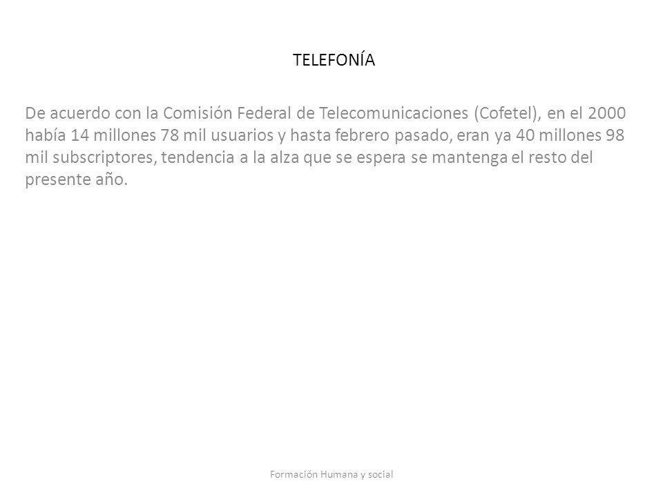 TELEFONÍA De acuerdo con la Comisión Federal de Telecomunicaciones (Cofetel), en el 2000 había 14 millones 78 mil usuarios y hasta febrero pasado, era