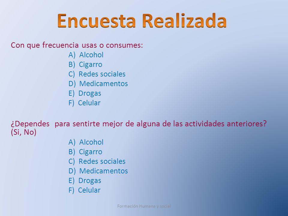 Con que frecuencia usas o consumes: A) Alcohol B) Cigarro C) Redes sociales D) Medicamentos E) Drogas F) Celular ¿Dependes para sentirte mejor de algu
