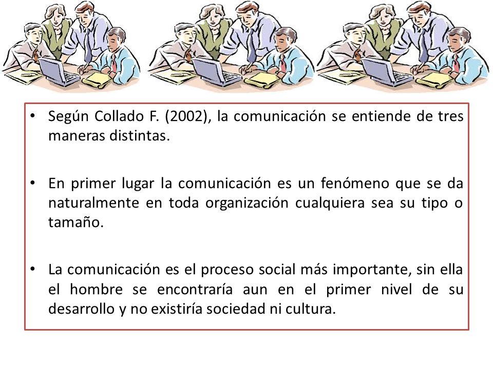 Según Collado F. (2002), la comunicación se entiende de tres maneras distintas. En primer lugar la comunicación es un fenómeno que se da naturalmente