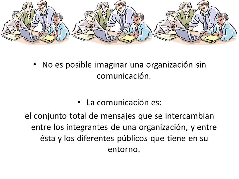 No es posible imaginar una organización sin comunicación. La comunicación es: el conjunto total de mensajes que se intercambian entre los integrantes