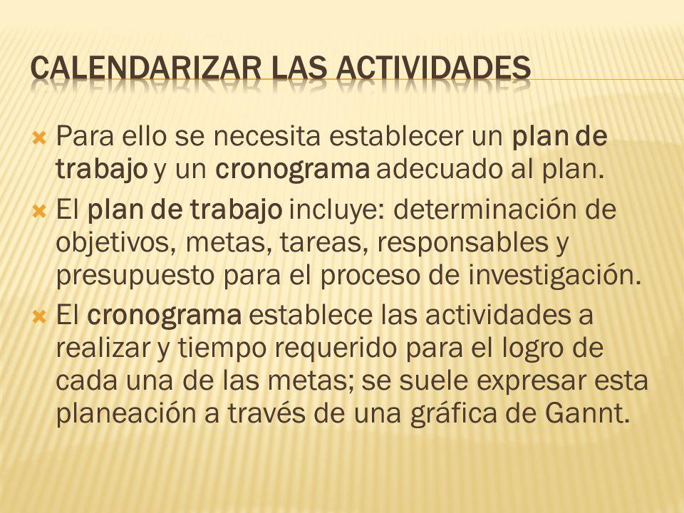 Para ello se necesita establecer un plan de trabajo y un cronograma adecuado al plan. El plan de trabajo incluye: determinación de objetivos, metas, t