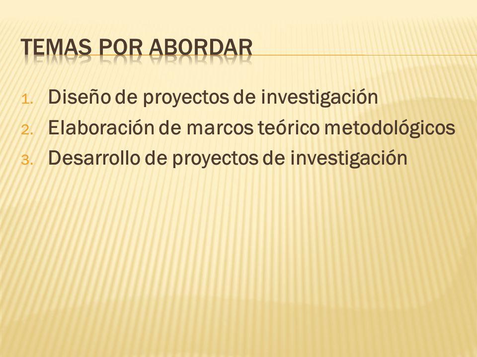 1. Diseño de proyectos de investigación 2. Elaboración de marcos teórico metodológicos 3. Desarrollo de proyectos de investigación
