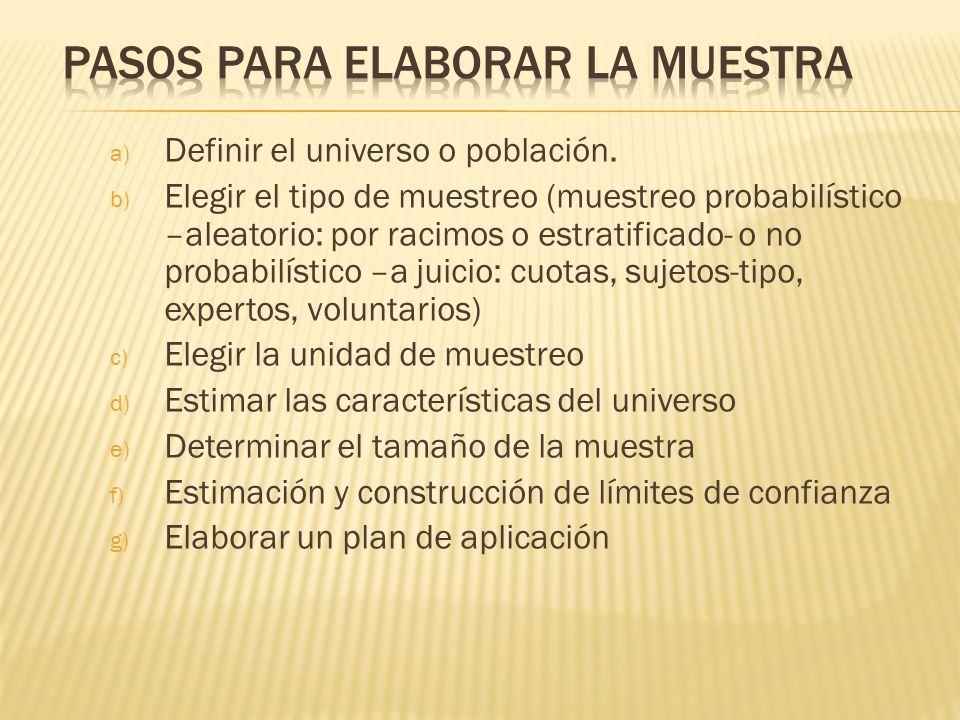 a) Definir el universo o población. b) Elegir el tipo de muestreo (muestreo probabilístico –aleatorio: por racimos o estratificado- o no probabilístic