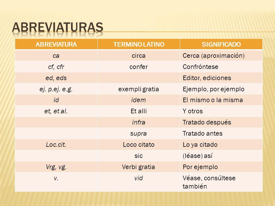 ABREVIATURATERMINO LATINOSIGNIFICADO cacircaCerca (aproximación) cf, cfrconferConfróntese ed, edsEditor, ediciones ej. p.ej. e.g.exempli gratiaEjemplo