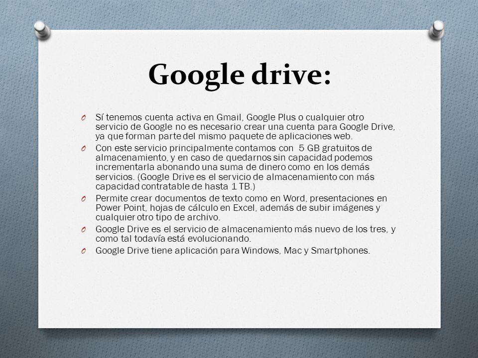 Google drive: O Sí tenemos cuenta activa en Gmail, Google Plus o cualquier otro servicio de Google no es necesario crear una cuenta para Google Drive,
