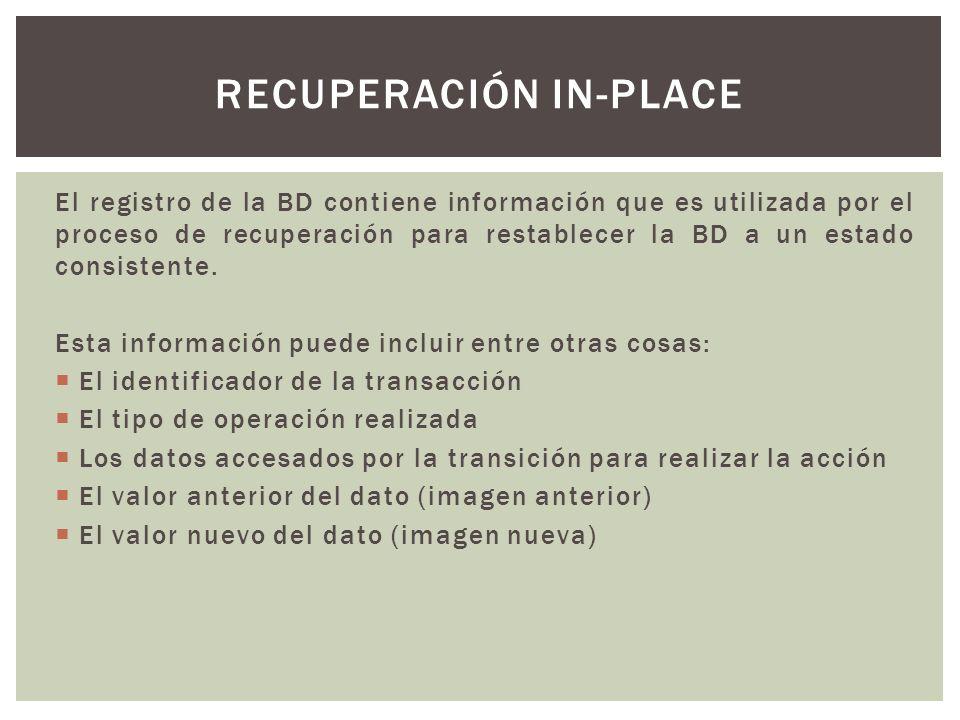 El registro de la BD contiene información que es utilizada por el proceso de recuperación para restablecer la BD a un estado consistente. Esta informa