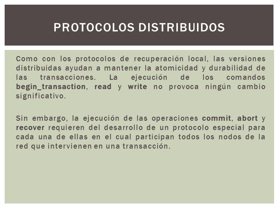 Como con los protocolos de recuperación local, las versiones distribuidas ayudan a mantener la atomicidad y durabilidad de las transacciones. La ejecu