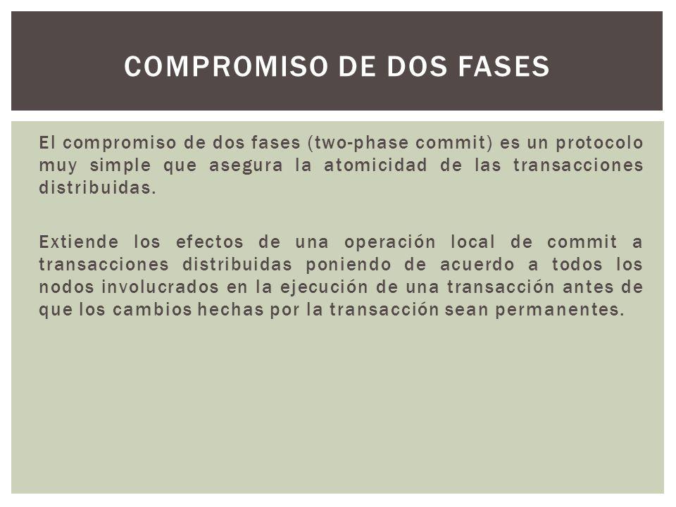 El compromiso de dos fases (two-phase commit) es un protocolo muy simple que asegura la atomicidad de las transacciones distribuidas. Extiende los efe