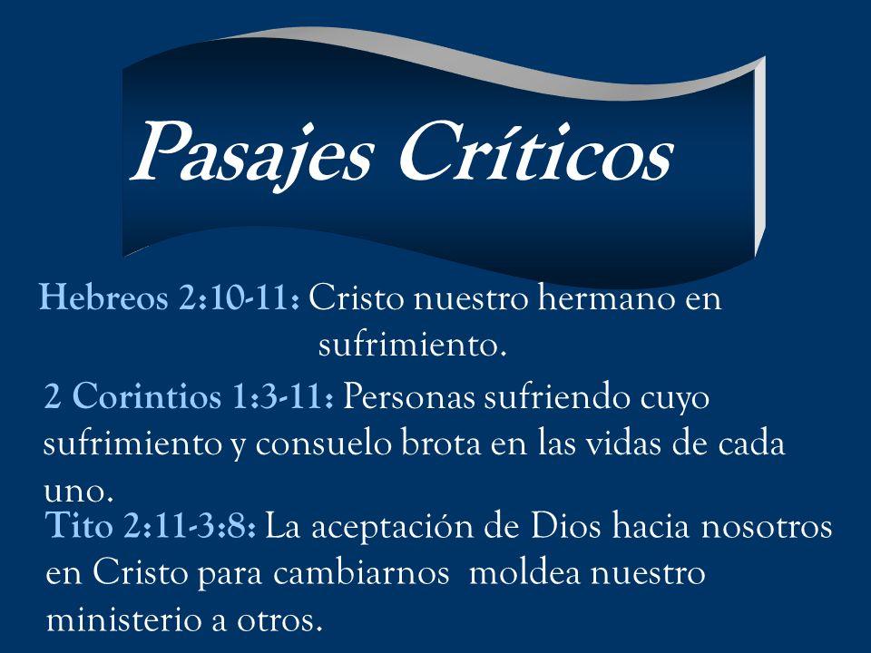 2 Corintios 1:3-11: Personas sufriendo cuyo sufrimiento y consuelo brota en las vidas de cada uno. Hebreos 2:10-11: Cristo nuestro hermano en sufrimie