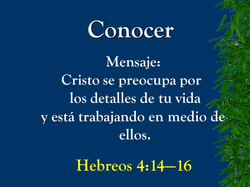Conocer Mensaje: Cristo se preocupa por los detalles de tu vida y está trabajando en medio de ellos. Hebreos 4:1416