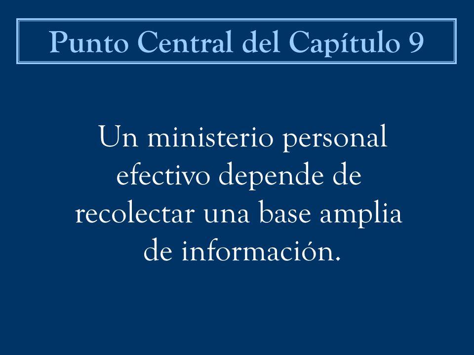 Un ministerio personal efectivo depende de recolectar una base amplia de información. Punto Central del Capítulo 9