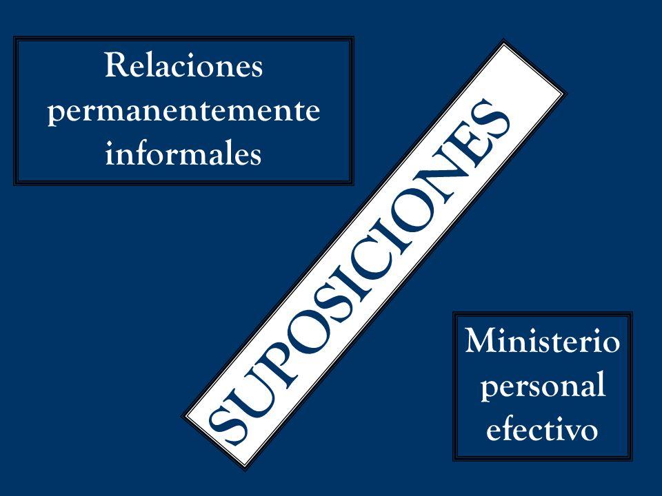 SUPOSICIONES Relaciones permanentemente informales Ministerio personal efectivo