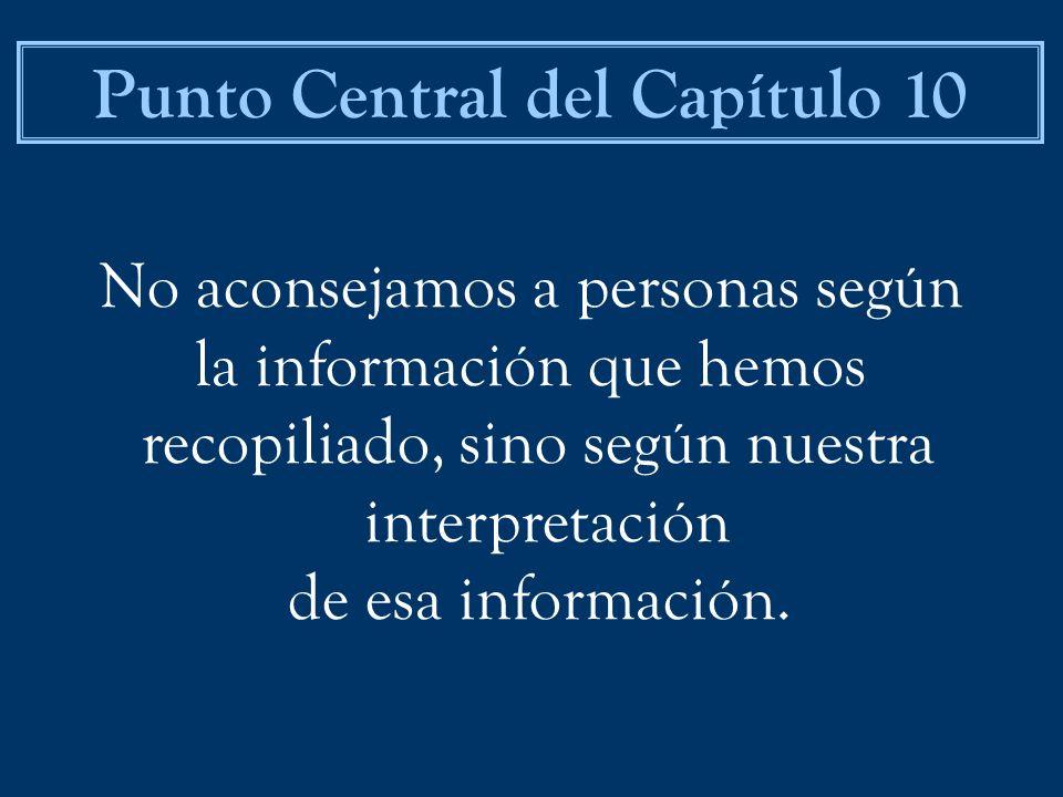 No aconsejamos a personas según la información que hemos recopiliado, sino según nuestra interpretación de esa información. Punto Central del Capítulo