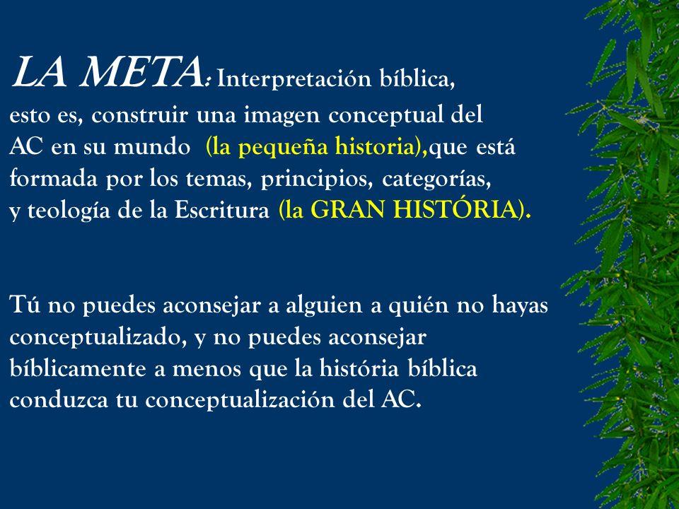LA META : Interpretación bíblica, esto es, construir una imagen conceptual del AC en su mundo (la pequeña historia),que está formada por los temas, pr