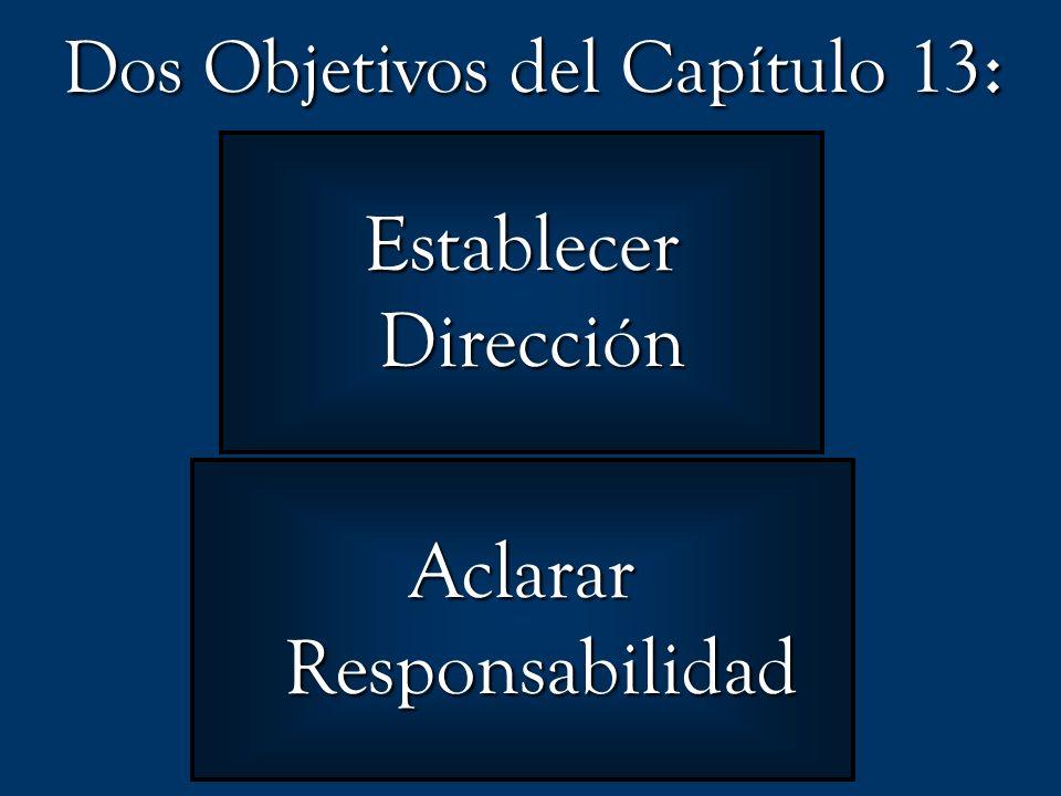 Dos Objetivos del Capítulo 13 : Establecer Dirección Dirección Aclarar Responsabilidad Responsabilidad