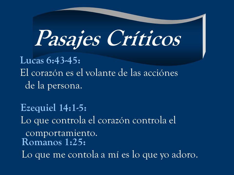 Lucas 6:43-45: El corazón es el volante de las acciónes de la persona. Ezequiel 14:1-5: Lo que controla el corazón controla el comportamiento. Romanos