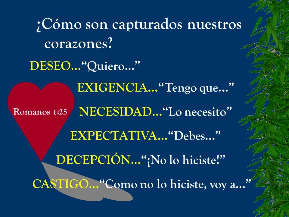 Romanos 1:25 ¿Cómo son capturados nuestros corazones? DESEO…Quiero... EXIGENCIA…Tengo que… NECESIDAD…Lo necesito EXPECTATIVA…Debes… DECEPCIÓN…¡No lo h
