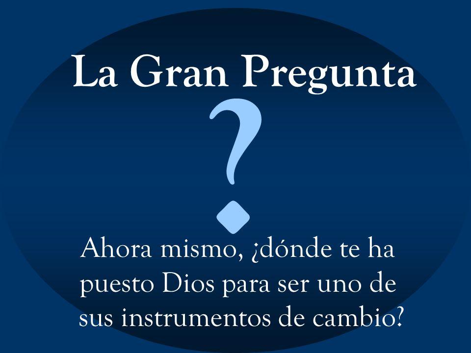 La Gran Pregunta ? Ahora mismo, ¿dónde te ha puesto Dios para ser uno de sus instrumentos de cambio?